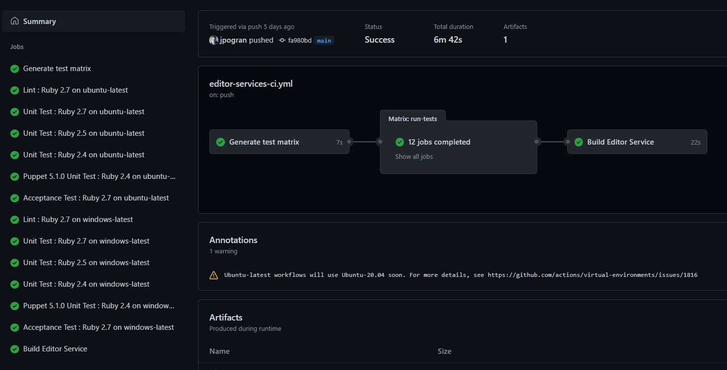GitHub Action Workflow : Puppet Editor Services output from main