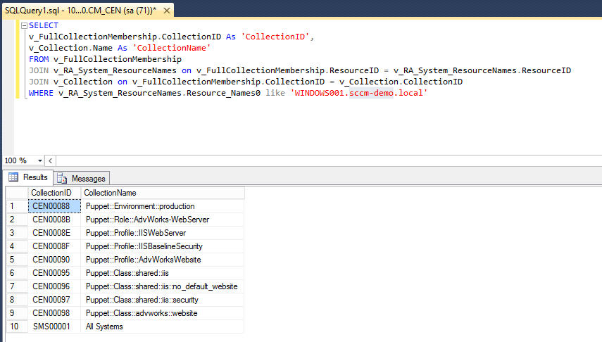 Example Query in SQL Management Studio